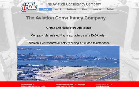 Screenshot of Home Page flytechservice.com - Maintenance Planning Aircraft Management EASA manuals appraisals - captured Oct. 6, 2014