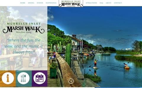 Screenshot of Home Page marshwalk.com - MarshWalk - Best Waterfront Dining in the Grand Strand - Marina and Boardwalk - Murrells Inlet, SC - captured April 15, 2016
