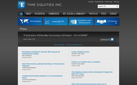 Screenshot of Press Page timeequities.com - Press - Time Equities Inc. - captured Nov. 2, 2014