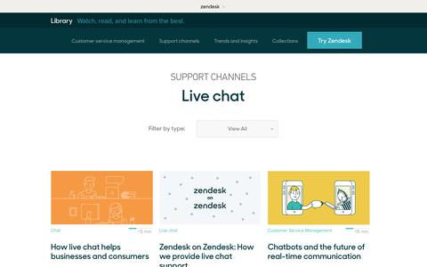 Screenshot of Support Page zendesk.com - Live chat | Zendesk Library - captured Aug. 5, 2018