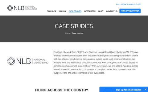 Screenshot of Case Studies Page mechanicslien.com - Case studies - National Lien & Bond - captured Oct. 18, 2018