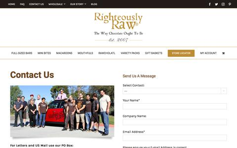 Screenshot of Contact Page righteouslyrawchocolate.com - Contact Us | Organic Raw Chocolates | Righteously Raw™ - captured July 12, 2017