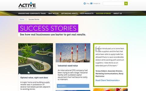 Screenshot of Case Studies Page activeinternational.com - Success Stories: Corporate Trade & Excess Inventory Case Studies   Active International   Active International - captured Dec. 5, 2015