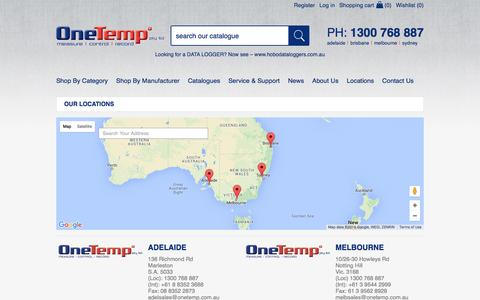 Screenshot of Locations Page onetemp.com.au - Our Locations | OneTemp - captured Feb. 14, 2016