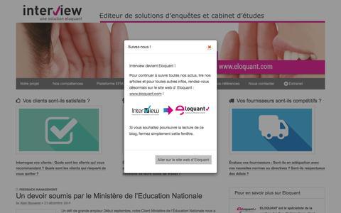 Screenshot of Home Page interview-efm.fr - Site Interview – lieu d'échange dédié à l'EFM (Enterprise Feedback Management) - captured Feb. 11, 2016