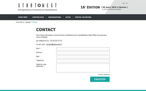 Screenshot of Contact Page start-west.com - Contact | Start West - captured June 6, 2016