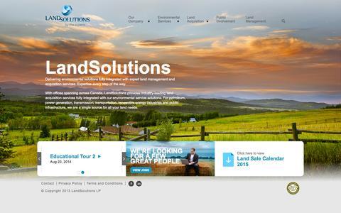 Screenshot of Home Page Menu Page landsolutions.ca - LandSolutions :: LandSolutions - captured Oct. 1, 2014