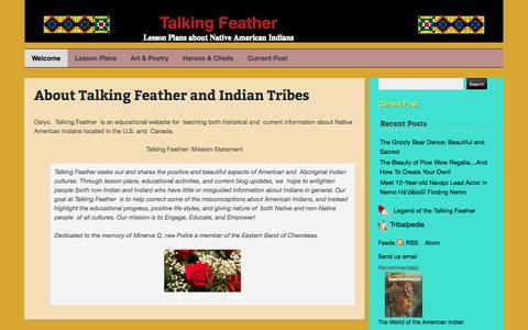 Screenshot of About Page talking-feather.com - About Talking Feather and  Indian Tribes | Talking Feather - captured May 14, 2016