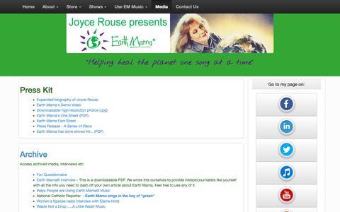 Screenshot of Press Page earthmama.org - Media - Joyce Rouse / Earth Mama® - captured Oct. 18, 2018