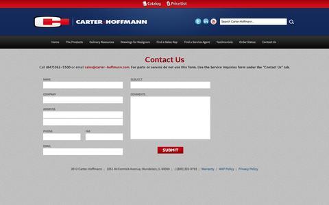 Screenshot of Contact Page carter-hoffmann.com - Carter-Hoffmann :: Contact Us - captured Sept. 30, 2014