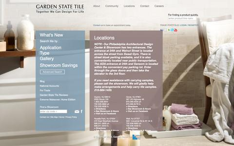 Screenshot of Locations Page gstile.com - Locations - Garden State Tile Design Centers - captured Jan. 25, 2016