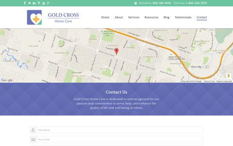 Screenshot of Contact Page goldcrosshomecare.com - Contact - Gold Cross Home Care - captured Jan. 31, 2016