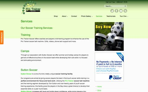Screenshot of Services Page protrainersoccer.com - Services « Pro Trainer Soccer - captured Sept. 30, 2014