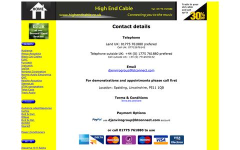 Screenshot of Contact Page highendcable.co.uk - High End Cable - home page for the best in high end Hi-fi cables and Hi-fi  equipment - captured June 30, 2018