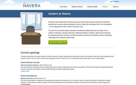 Screenshot of Jobs Page navera.com - Navera | Careers at Navera - captured Sept. 16, 2014