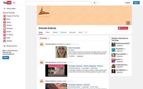 Screenshot of YouTube Page youtube.com - Orlando Estévez  - YouTube - captured Oct. 22, 2014