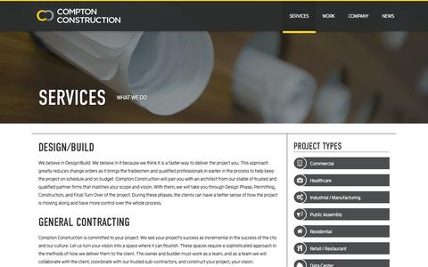 Screenshot of Services Page comptonllc.com - Services - Compton Construction - captured Oct. 2, 2014