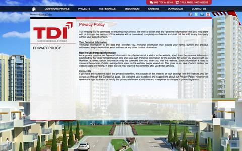 Screenshot of Privacy Page tdiinfracorp.com - Privacy Policy - TDI Group - captured Sept. 23, 2014
