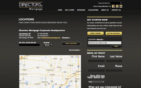 Screenshot of Locations Page directorsmortgage.net - Mortgage Broker Offices - Directors Mortgage - Pacific Northwest - captured Sept. 30, 2014