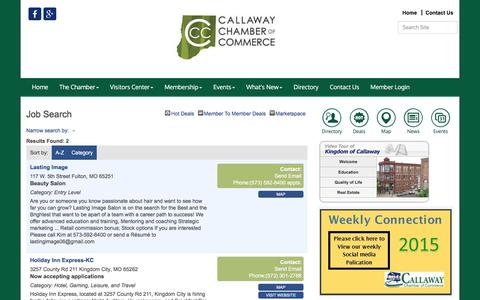Screenshot of Jobs Page callawaychamber.com - Job Search - Callaway Chamber of Commerce & Visitor's Center, MO - captured June 29, 2016