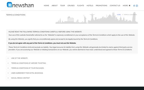 Screenshot of Terms Page newshan.com - Terms & Conditions | New Shan Travel Agency - captured Sept. 22, 2018