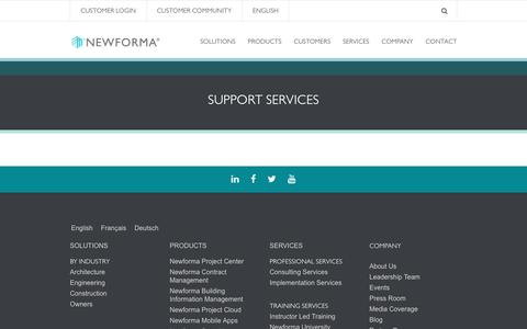 Screenshot of Support Page newforma.com - Support Services | Newforma Newforma - captured April 26, 2017