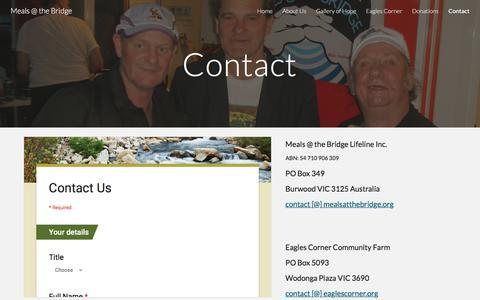 Screenshot of Contact Page google.com - Meals @ the Bridge - Contact - captured June 18, 2017
