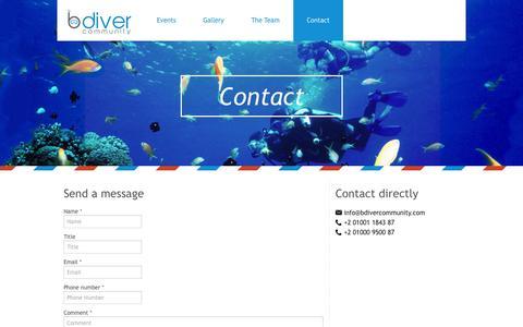 Screenshot of Contact Page bdivercommunity.com - bdiver community - captured Sept. 30, 2014