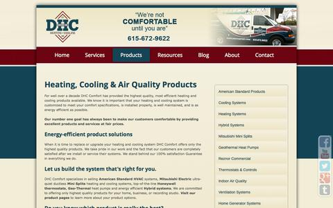 Screenshot of Products Page dhccomfort.com - Heating, Cooling & Air Quality Products - DHC ComfortDHC Comfort - captured Oct. 27, 2014