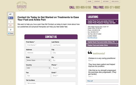 Screenshot of Contact Page Locations Page footdoctorscolorado.com - Contact Podiatry Associates in Parker and Castle Pines | Podiatry Associates, P.C. - captured Oct. 22, 2014