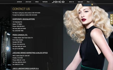 Screenshot of Contact Page joico.com - Contact Us | Joico Haircare - captured Sept. 22, 2014