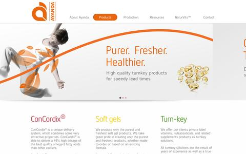 Screenshot of Products Page ayanda.com - Ayanda A/S | Dietary Supplements Manufacturer | Explore Our Product Portfolio - captured Oct. 4, 2014