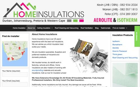 Screenshot of About Page homeinsulations.co.za - About Us | homeinsulations.co.za - captured May 21, 2017