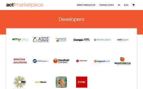 Screenshot of Developers Page actaddonshop.com - Developers - act!marketplace - A Global Community of certified Act! developer Add-ons - captured July 29, 2018