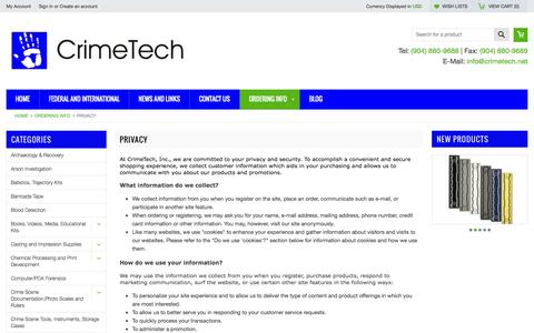 Screenshot of Privacy Page crimetech.net - Privacy - captured Oct. 3, 2014