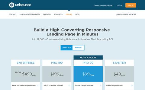 Screenshot of Pricing Page unbounce.com - Unbounce Pricing - Quickly Create Customized Landing Pages - captured April 27, 2016