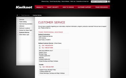Screenshot of Support Page kwikset.com - Kwikset : Trade Resources : Customer Service - captured Aug. 19, 2018