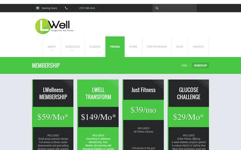 Screenshot of Pricing Page lwell.com - Weight Loss - LWell Modern Health Club in Hampton Roads, Va - captured Sept. 26, 2014