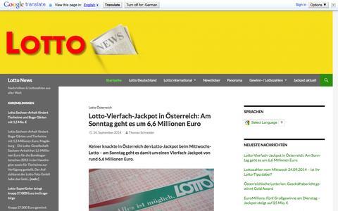 Screenshot of Home Page lotto-news.de - Lotto News - Nachrichten & Lottozahlen aus aller Welt - captured Sept. 25, 2014