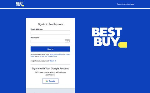 Screenshot of Login Page bestbuy.com - Sign In to BestBuy.com - captured May 25, 2019