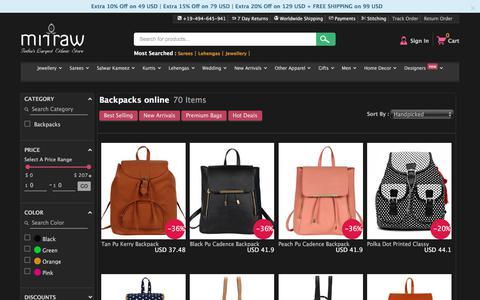 Screenshot of mirraw.com - Buy Backpacks Online | Backpacks for girls | Women travel backpack shopping - captured Jan. 13, 2018