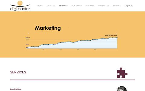 Screenshot of Services Page digicaviar.com - DigiCaviar     Services - captured Aug. 7, 2018