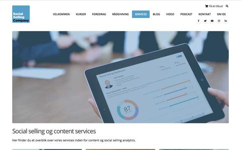 Screenshot of Services Page socialsellingcompany.dk - Social selling og content services - Social Selling Company - captured July 23, 2019