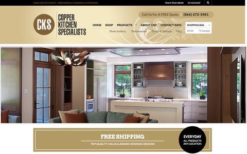 Screenshot of Home Page copperhoods.com - Copper Kitchen Range Hoods - Vent Hoods | Copper Kitchen Specialists - captured Oct. 3, 2014