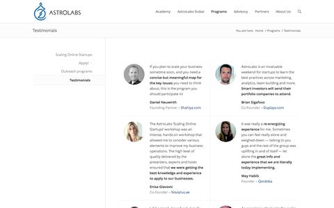 Screenshot of Testimonials Page astrolabs.com - Testimonials - AstroLabs - captured Oct. 29, 2014