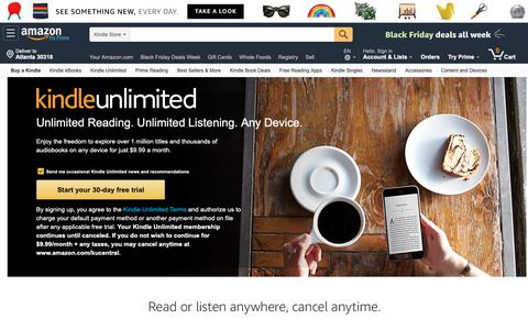 Screenshot of About Page amazon.com - Kindle Unlimited Sign Up - captured Nov. 19, 2018