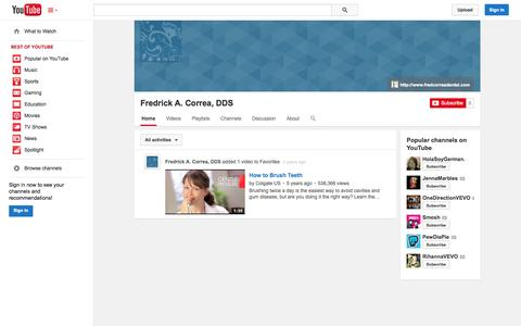 Screenshot of YouTube Page youtube.com - Fredrick A. Correa, DDS  - YouTube - captured Oct. 22, 2014