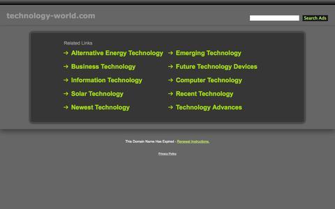 Screenshot of Home Page technology-world.com - Technology-World.com - captured Oct. 7, 2014