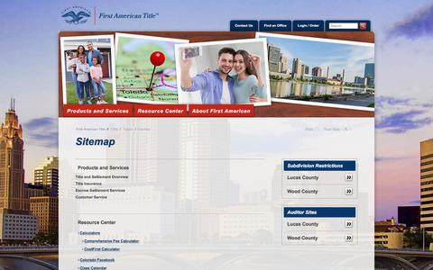 Screenshot of Site Map Page firstam.com - Sitemap - First American Title Insurance - Ohio - County - Toledo - captured July 2, 2018