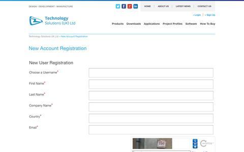 Screenshot of Signup Page tsl.uk.com - New Account Registration - Technology Solutions UK Ltd - captured Oct. 7, 2014